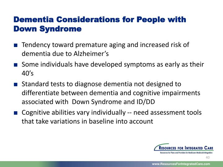 Dementia Considerations for People with Down Syndrome