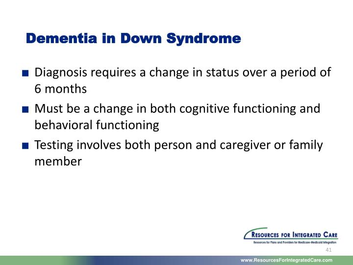 Dementia in Down Syndrome