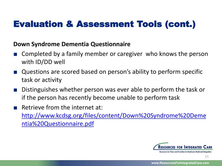 Evaluation & Assessment Tools (cont.)