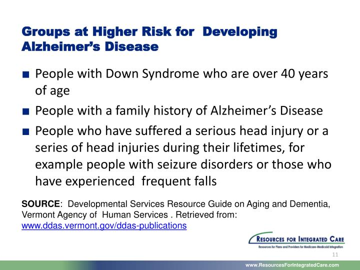 Groups at Higher Risk for  Developing