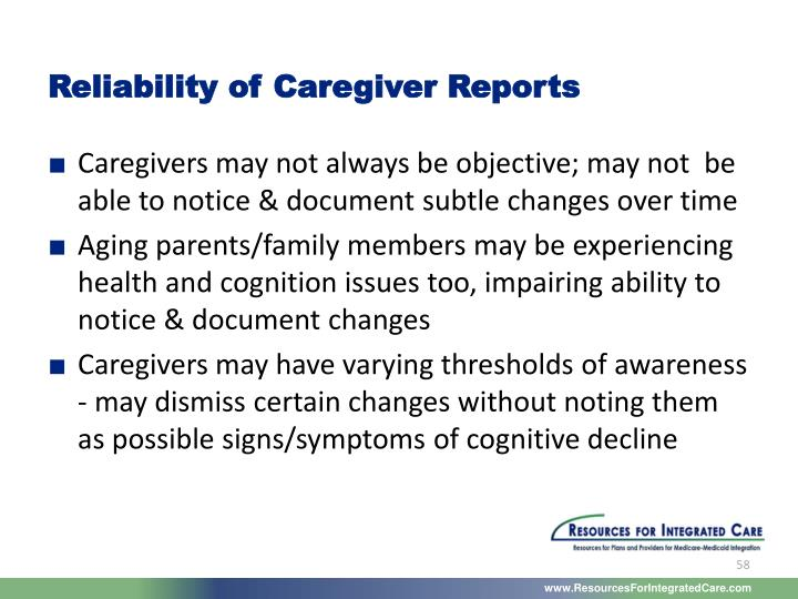Reliability of Caregiver Reports