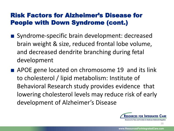 Risk Factors for Alzheimer's Disease for People with Down Syndrome (cont.)