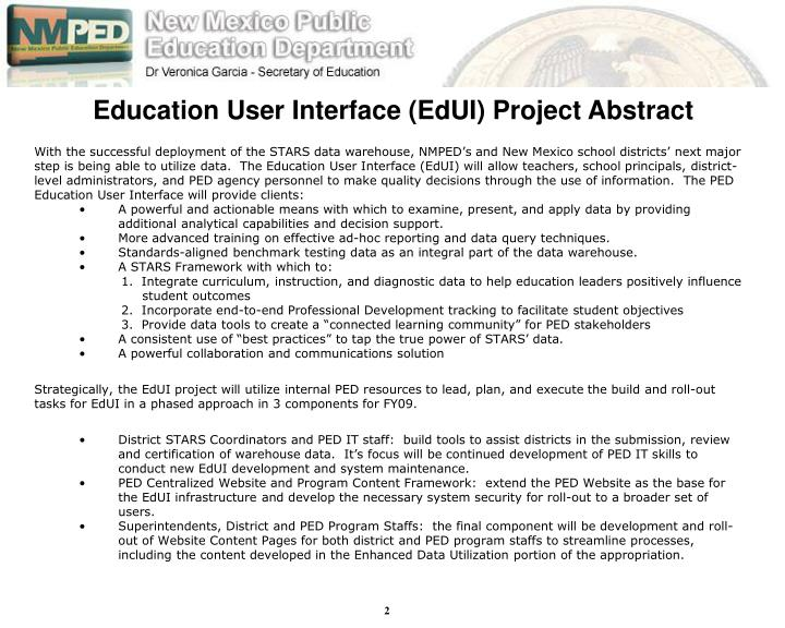 Education User Interface (EdUI) Project Abstract
