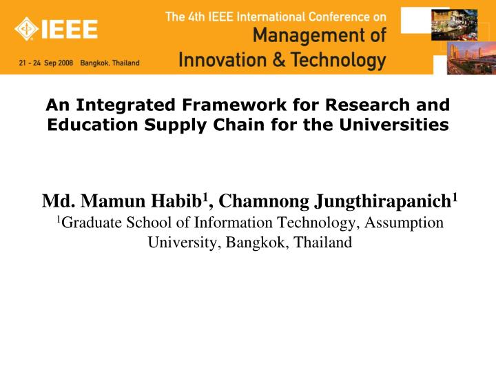 an integrated framework for research and education supply chain for the universities n.