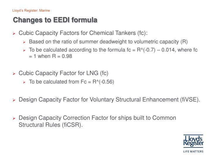Changes to EEDI formula