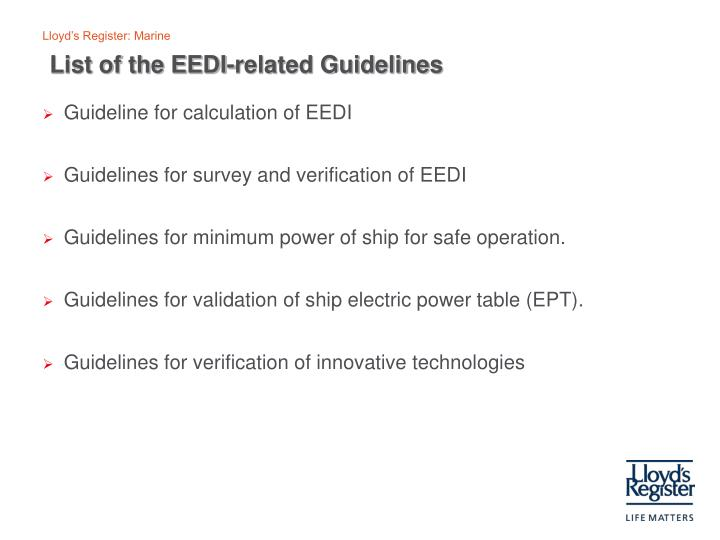 List of the EEDI-related Guidelines