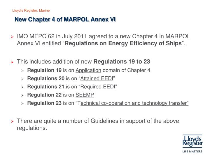 New Chapter 4 of MARPOL Annex VI