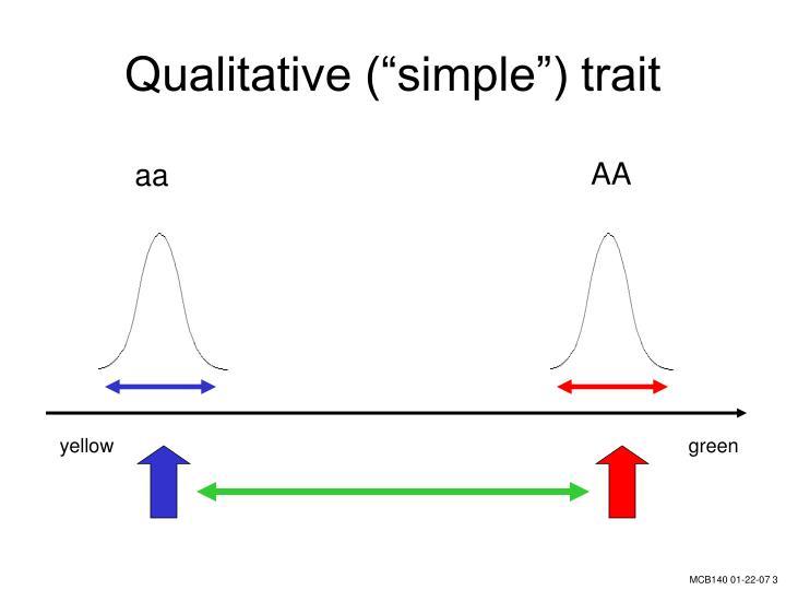 Qualitative simple trait