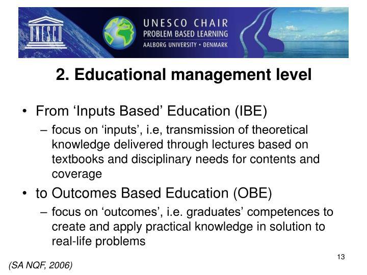 2. Educational management level