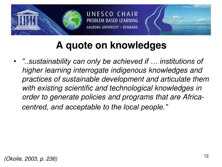 A quote on knowledges