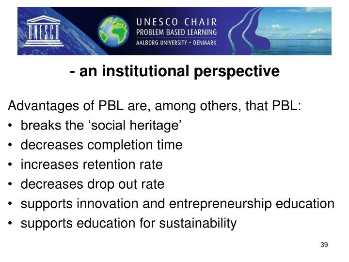 - an institutional perspective