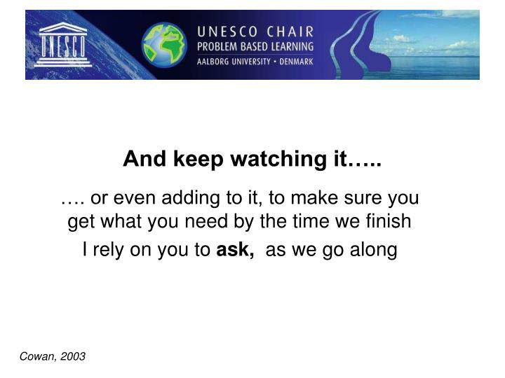 And keep watching it…..