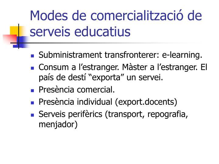 Modes de comercialització de serveis educatius
