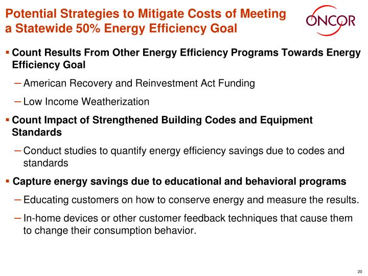 Potential Strategies to Mitigate Costs of Meeting a Statewide 50% Energy Efficiency Goal