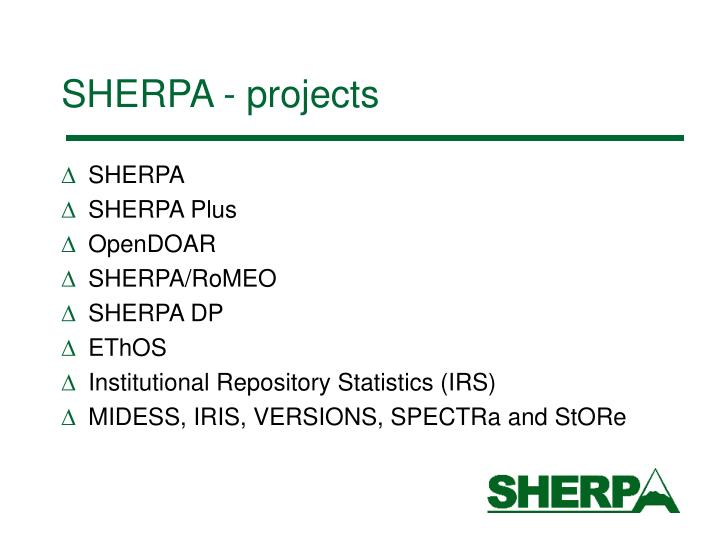Sherpa projects