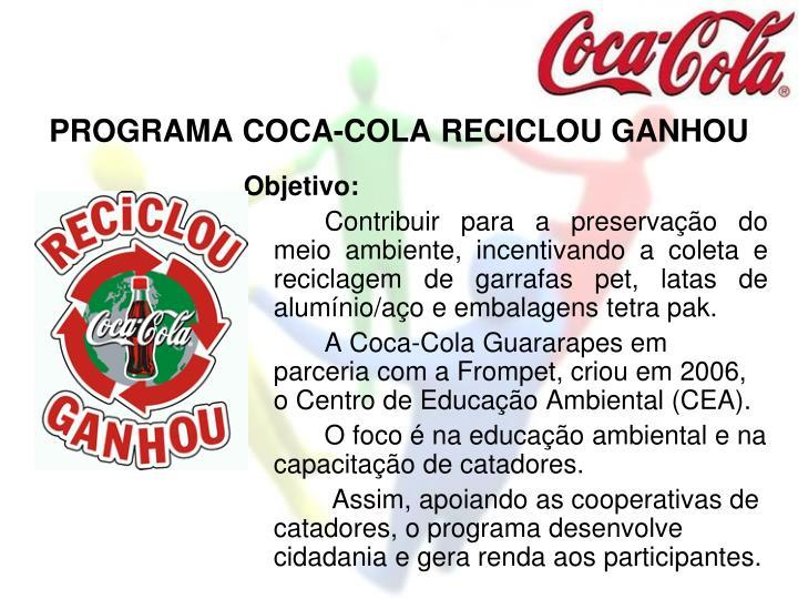 PROGRAMA COCA-COLA RECICLOU GANHOU