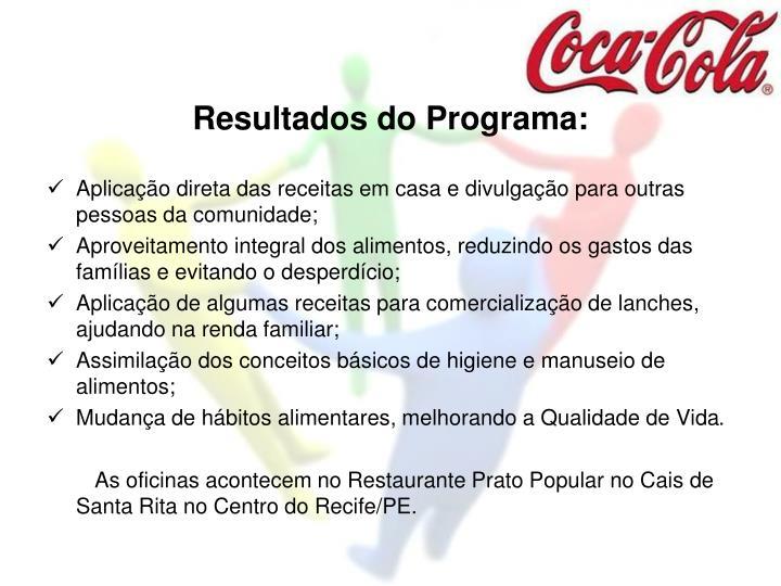 Resultados do Programa: