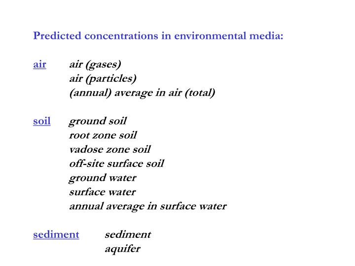 Predicted concentrations in environmental media: