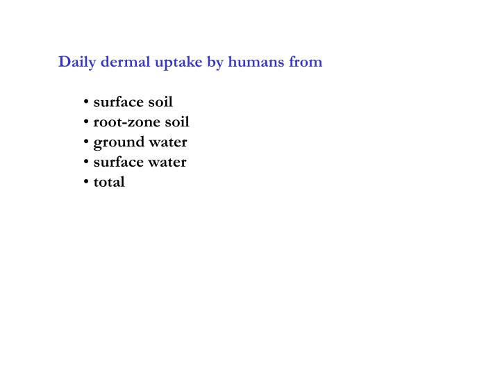 Daily dermal uptake by humans from