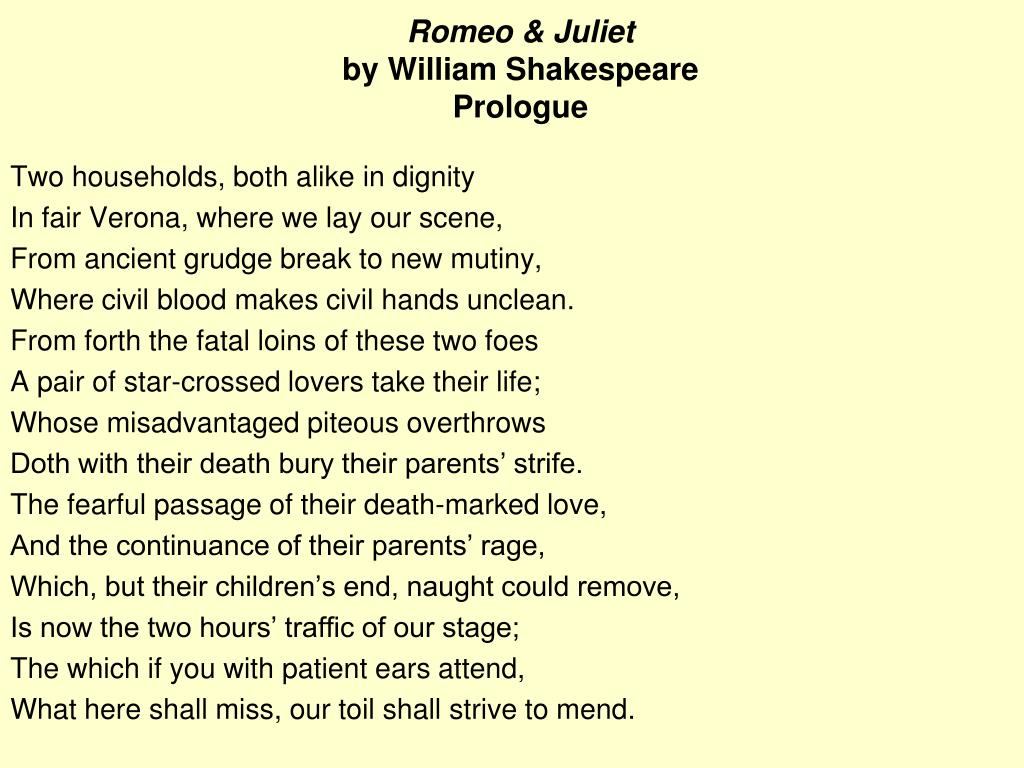 Ppt Romeo Juliet By William Shakespeare Prologue Powerpoint Presentation Id 4061310 And Meaning Line