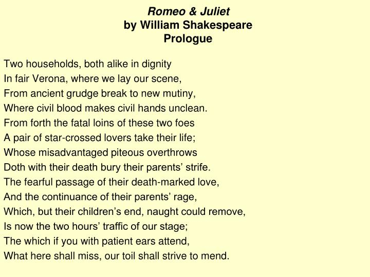 Ppt Romeo Juliet By William Shakespeare Prologue Powerpoint Presentation Id 4061310