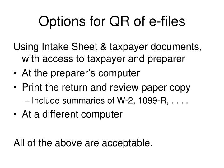 Options for QR of e-files