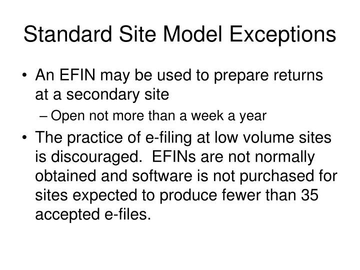 Standard Site Model Exceptions