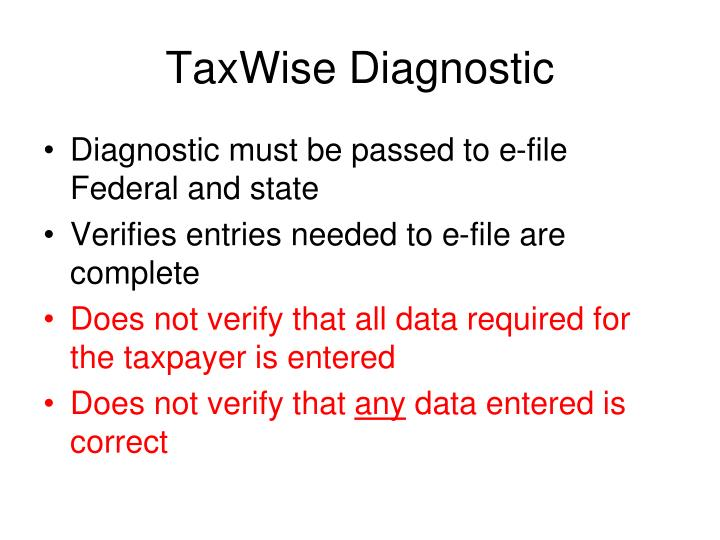 TaxWise Diagnostic