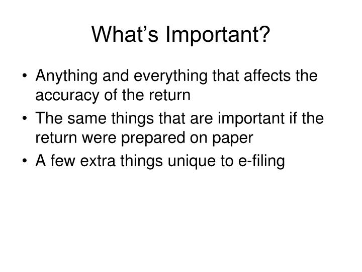What's Important?