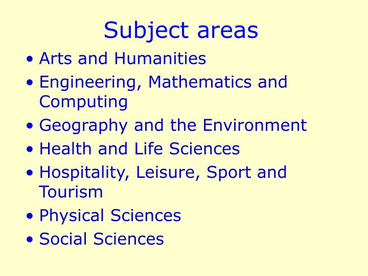Subject areas