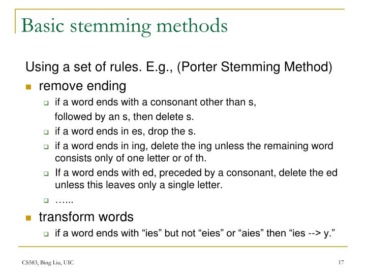 Basic stemming methods
