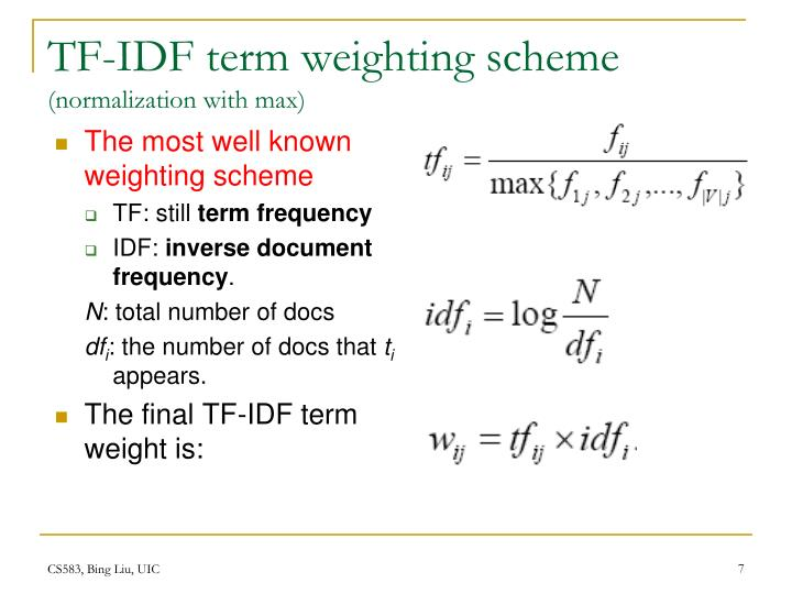 TF-IDF term weighting scheme