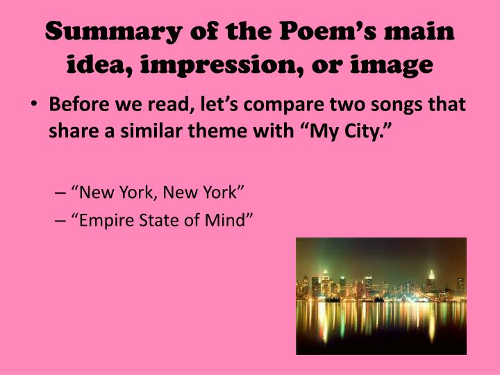a summary of the poem after The academy of american poets is the largest membership-based nonprofit organization fostering an appreciation for contemporary poetry and supporting american poets for over three generations, the academy has connected millions of people to great poetry through programs such as national poetry.