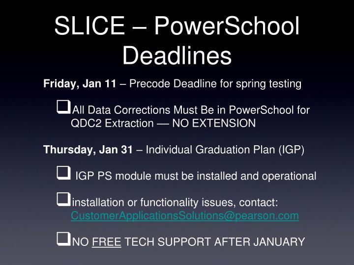 SLICE – PowerSchool Deadlines
