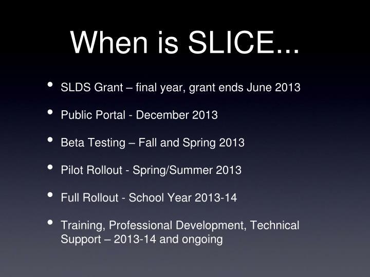 When is SLICE...
