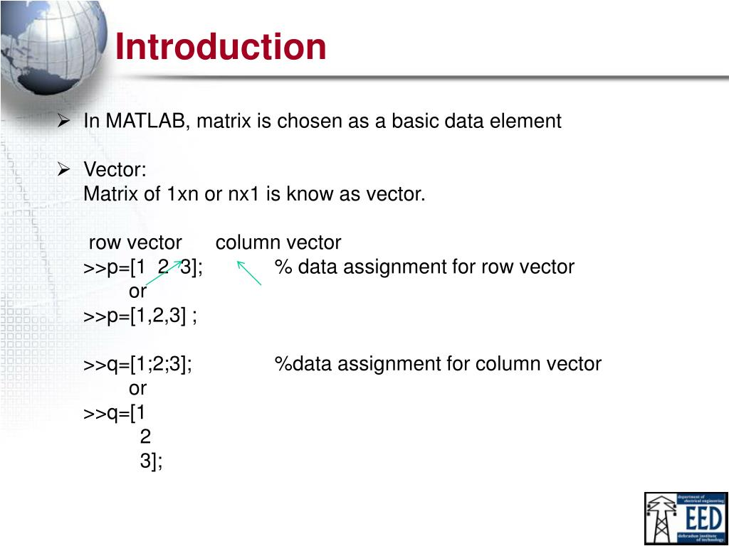 PPT - MATLAB Vectors & Matrices PowerPoint Presentation - ID