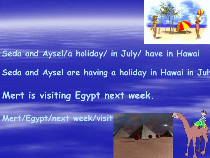 Seda and Aysel/a holiday/ in July/ have in Hawai