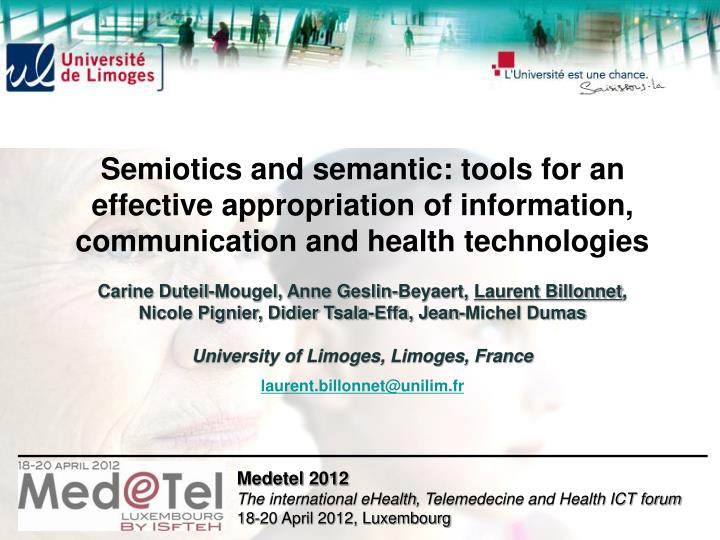Semiotics and semantic: tools for an effective appropriation of information, communication and healt...