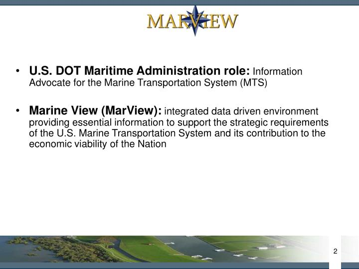 U.S. DOT Maritime Administration role: