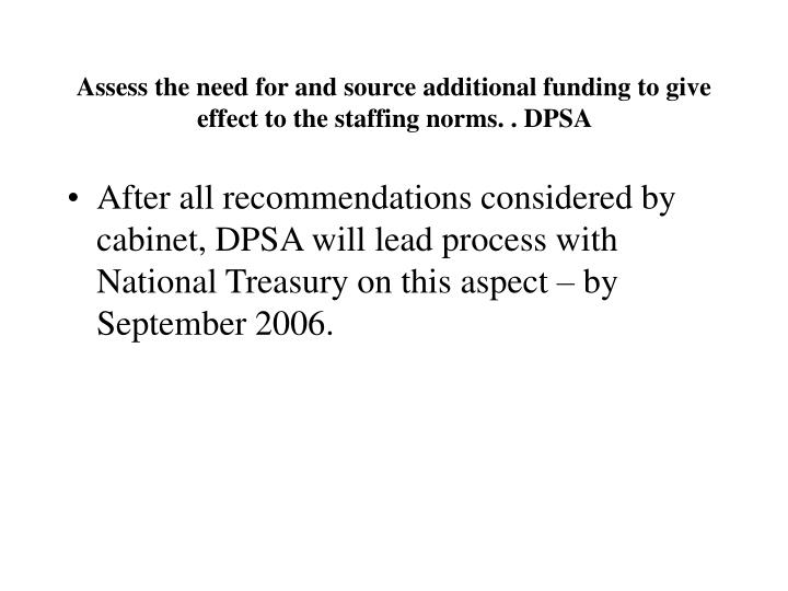 Assess the need for and source additional funding to give effect to the staffing norms.