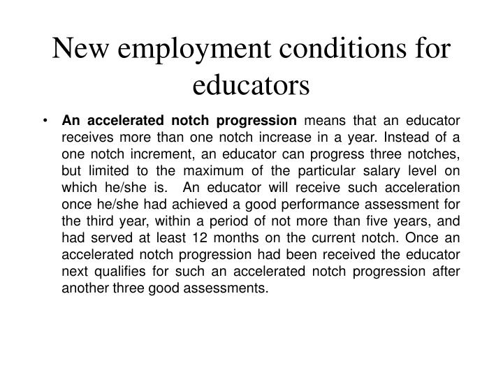 New employment conditions for educators