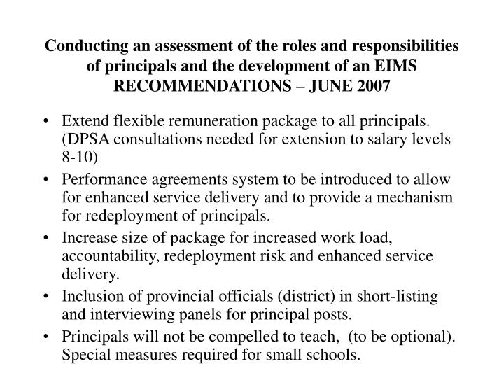 Conducting an assessment of the roles and responsibilities of principals and the development of an EIMS
