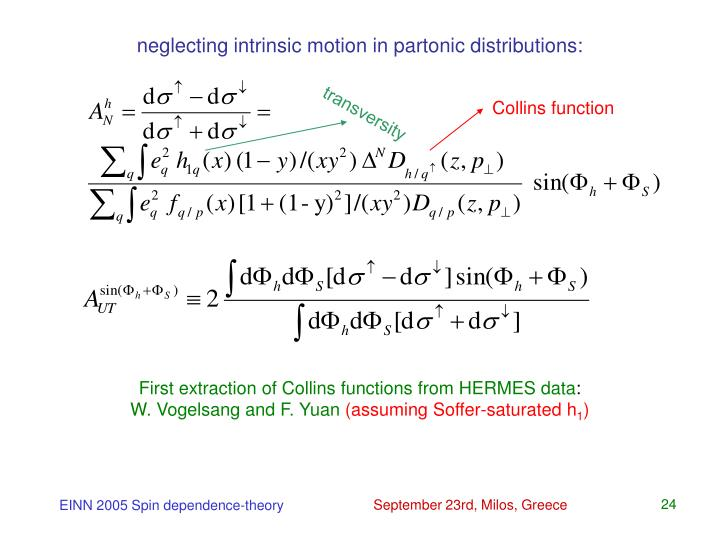 neglecting intrinsic motion in partonic distributions: