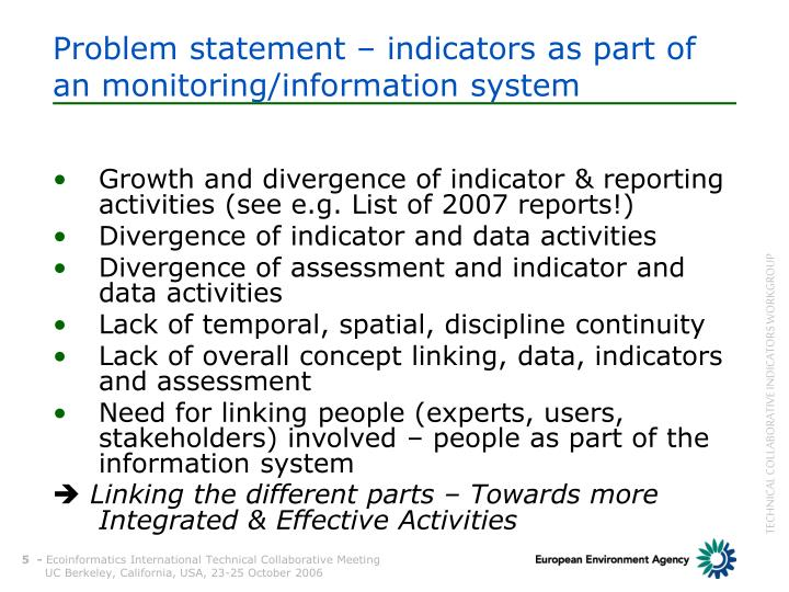 Problem statement – indicators as part of an monitoring/information system