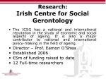 research irish centre for social gerontology