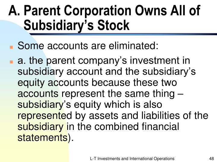 A. Parent Corporation Owns All of Subsidiary's Stock