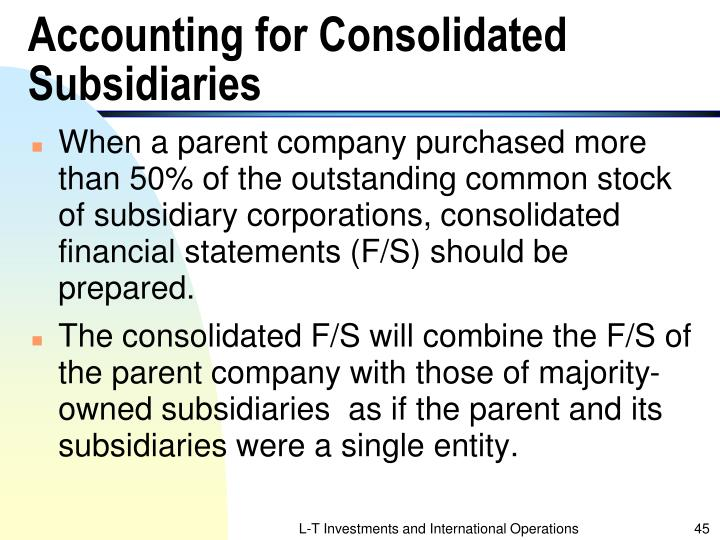 Accounting for Consolidated Subsidiaries