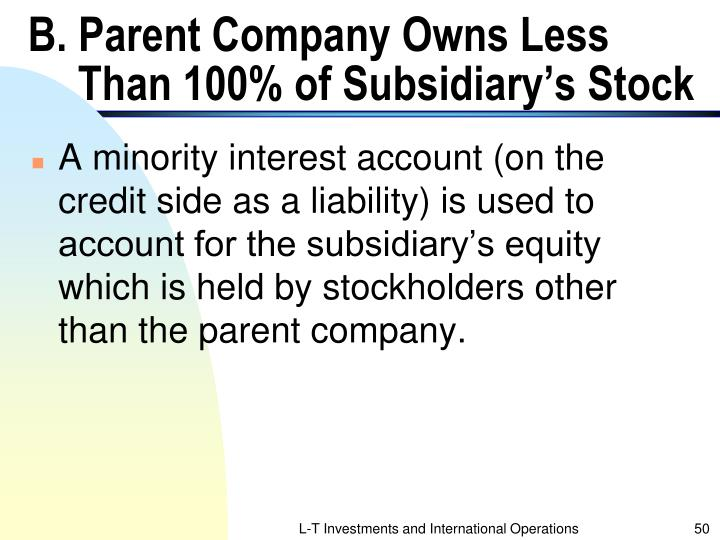 B. Parent Company Owns Less Than 100% of Subsidiary's Stock