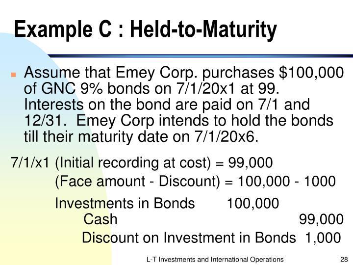 Example C : Held-to-Maturity