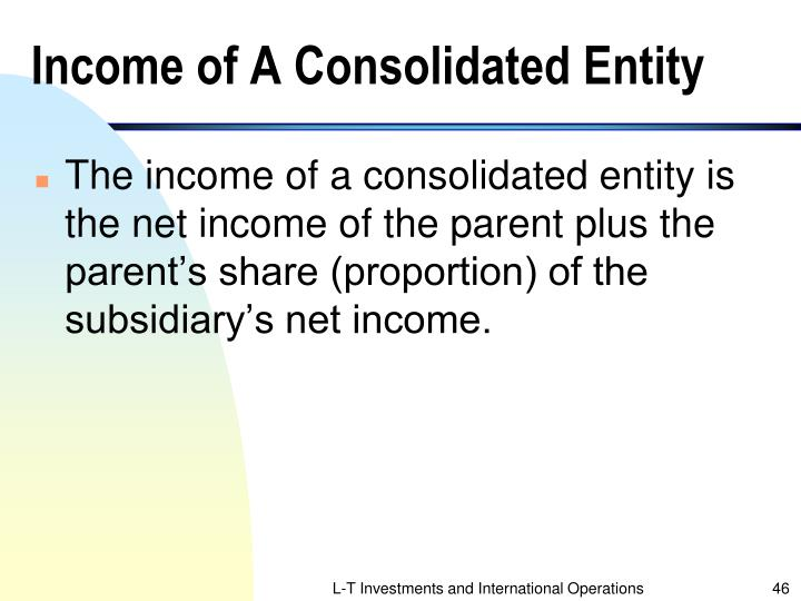 Income of A Consolidated Entity